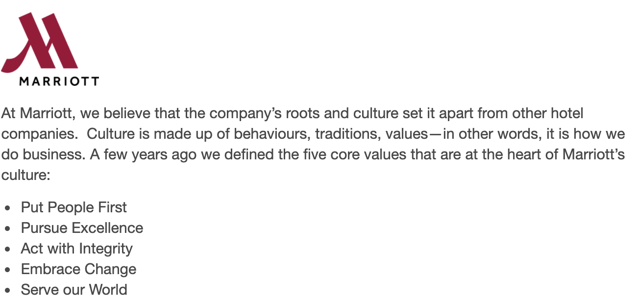 Marriott's company values
