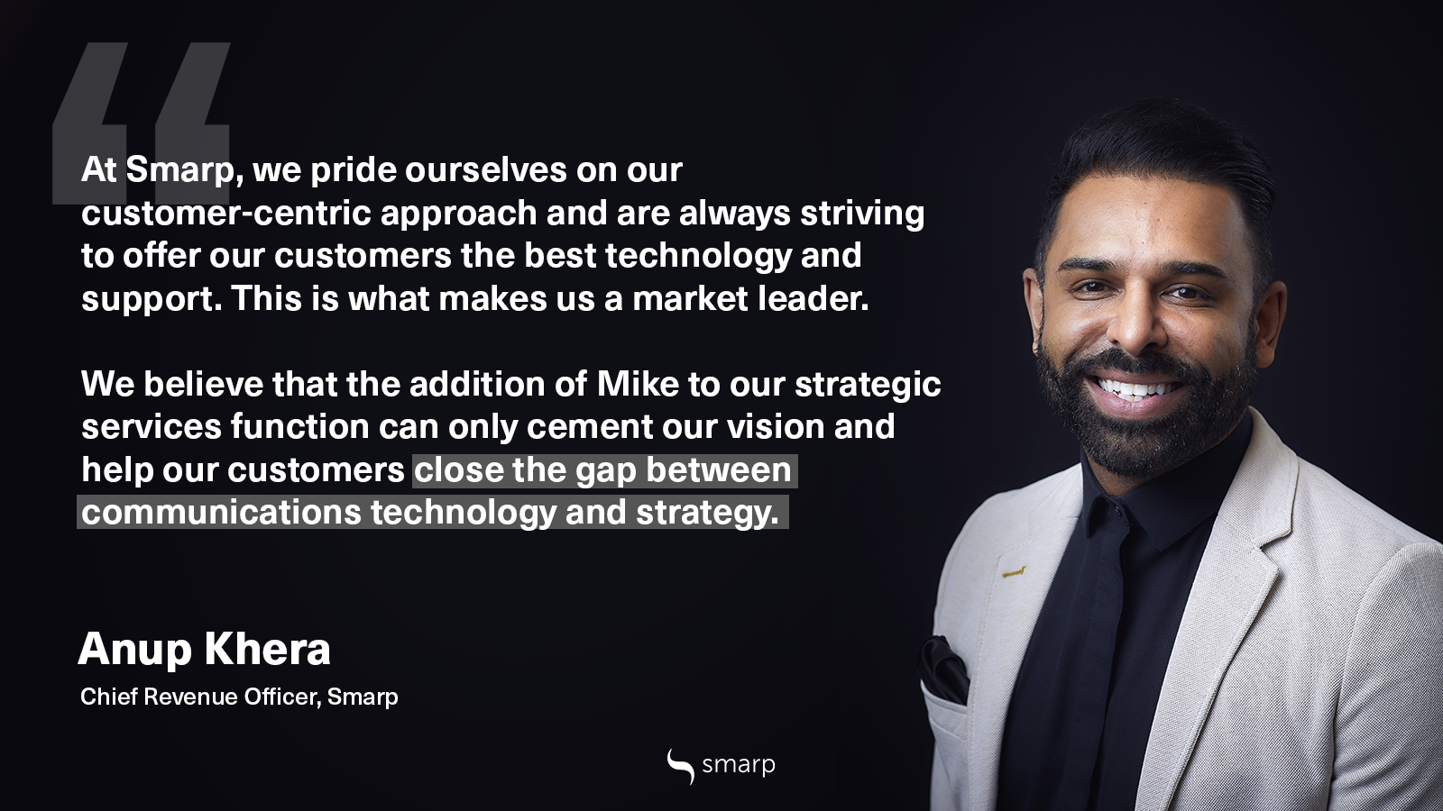 Internal Communications Expert Mike Klein joins Smarp's Strategic Services Team - Anup quote