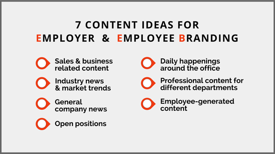 7 Content ideas for employer and employee branding