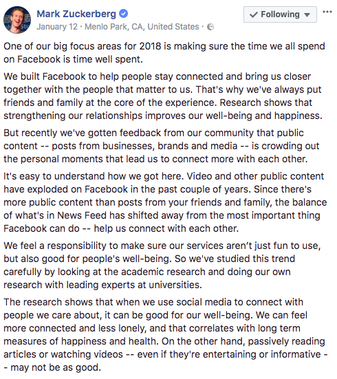 Facebook algorithm change in 2018 - Mark Zuckerberg
