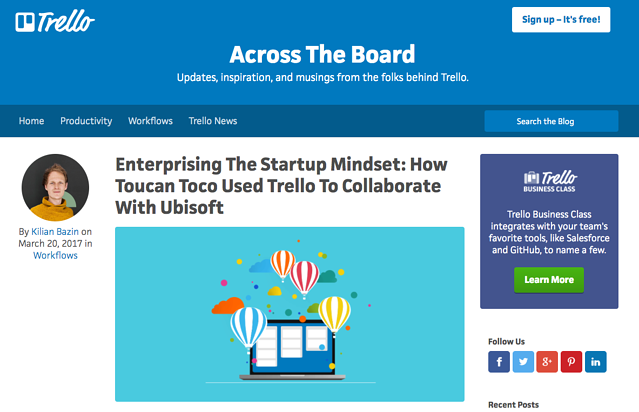 Trello project management tool used by Toucan Toco