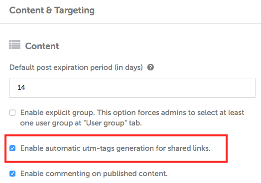 Enable UTM parameters for Employee Advocacy