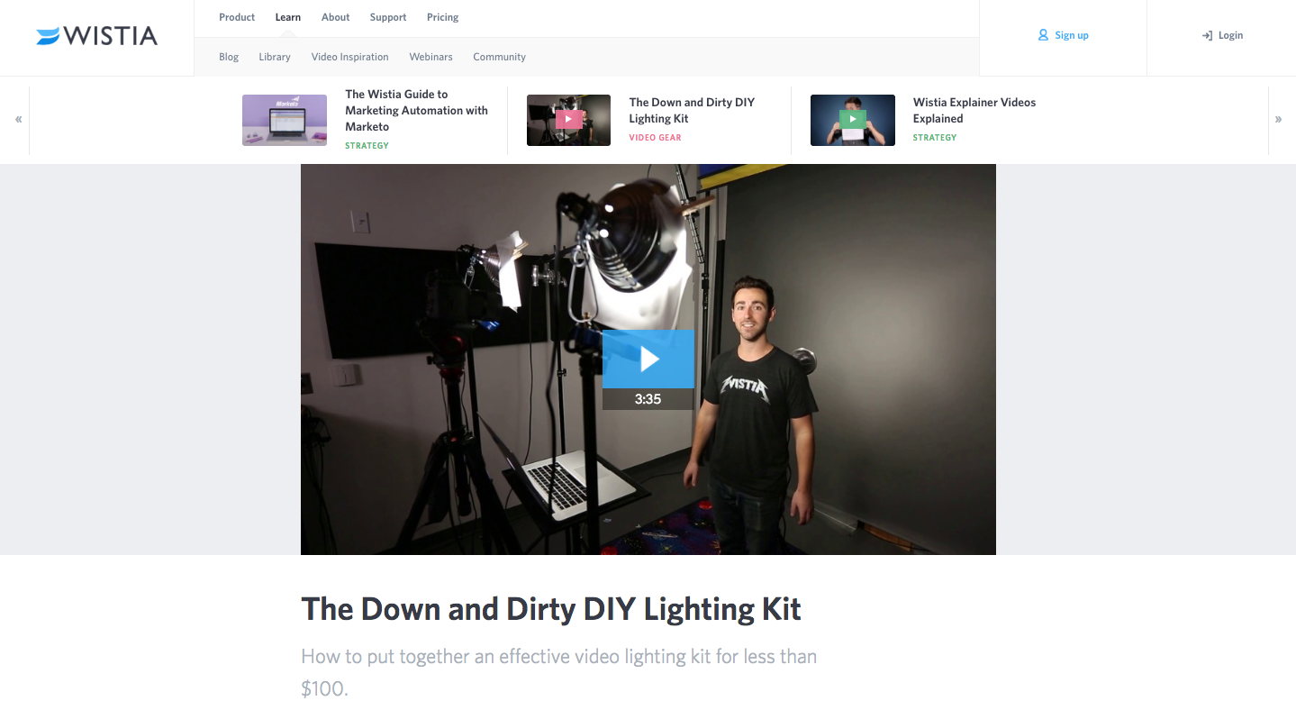 Wistia DIY lighting tutorial