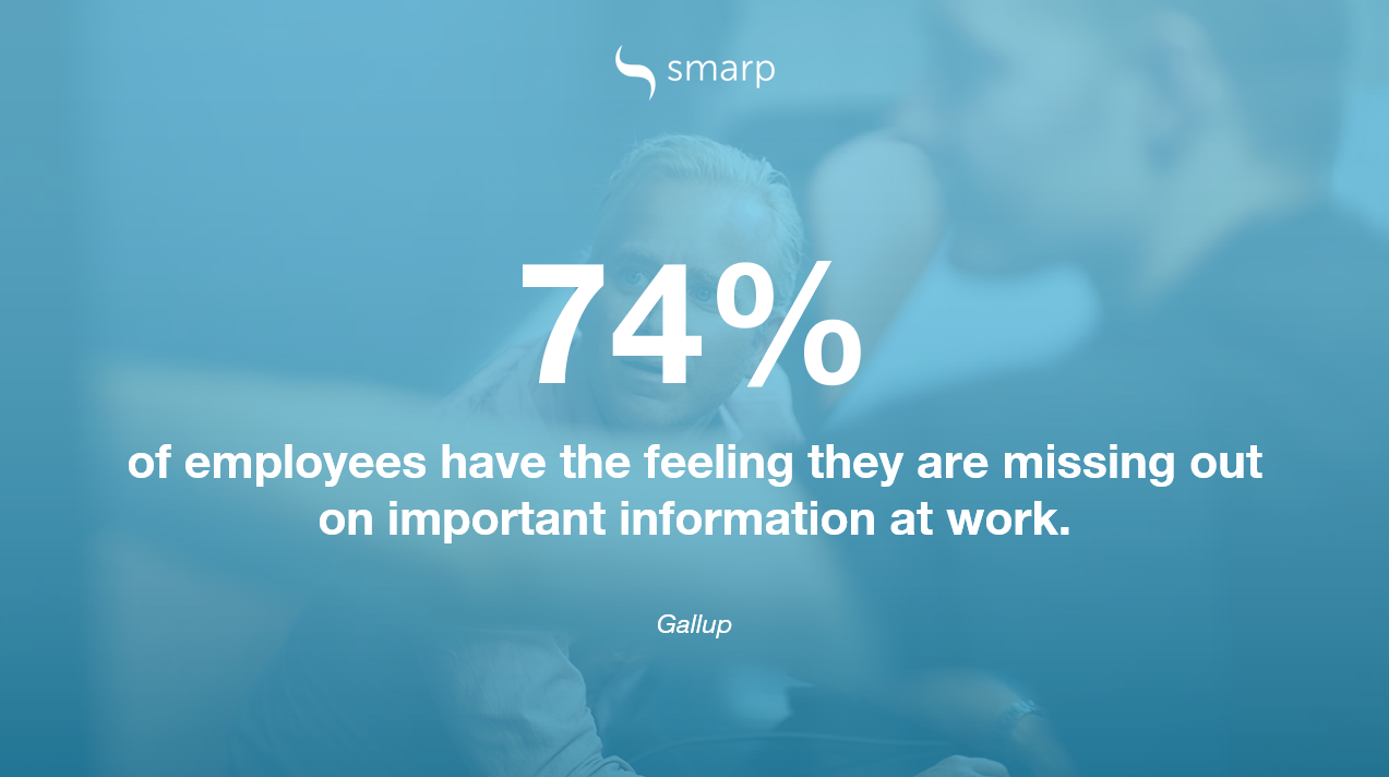 most employees have the feeling they're missing out on important information Gallup