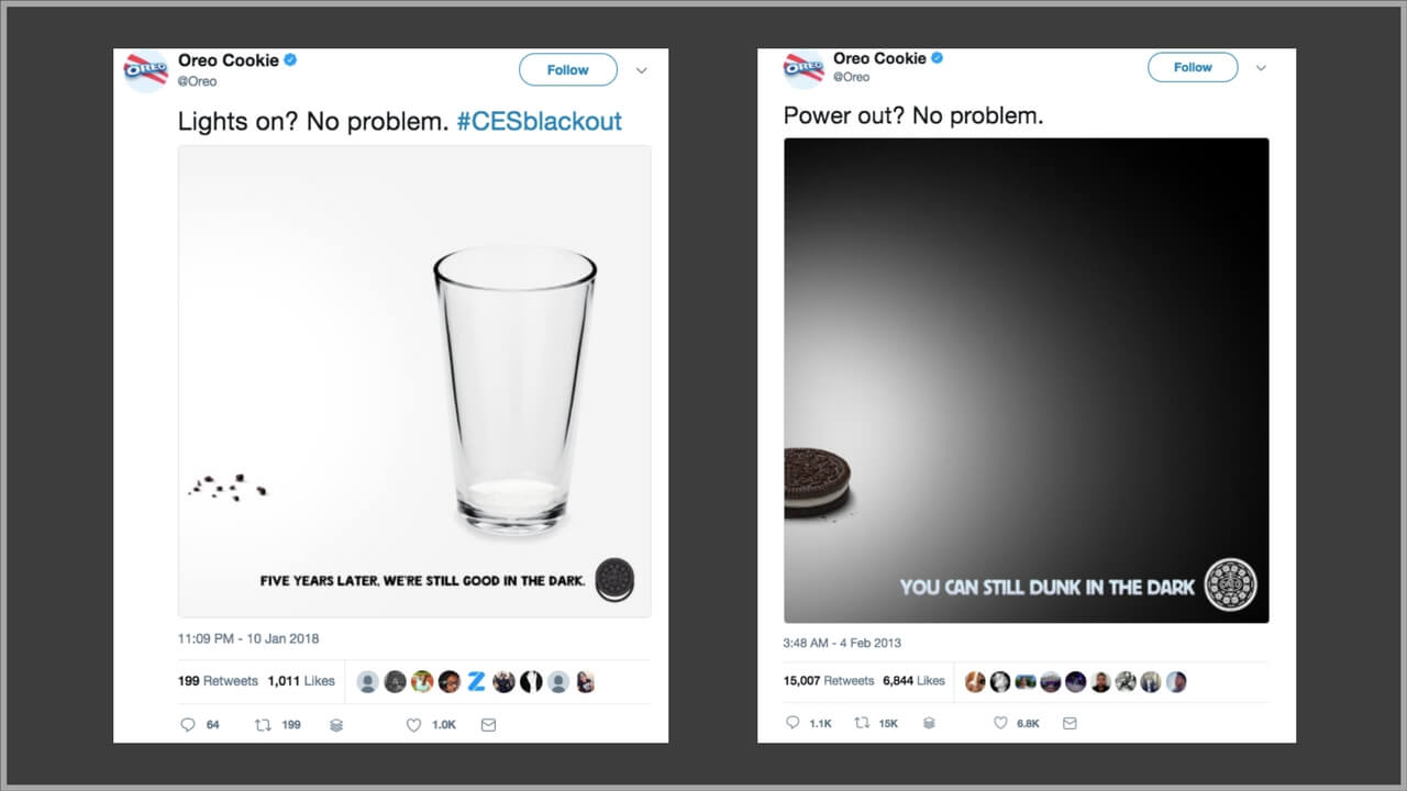 Oreo Cookie tweets in 2013 and in 2018