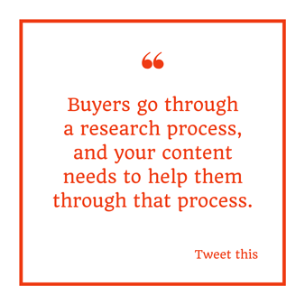 """Buyers go through a research process, and your content needs to help them through that process."" Mario Martinez Jr."